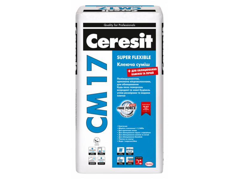 Высокоэластичная клеящая смесь Ceresit CM 17 Super Flexible 25кг