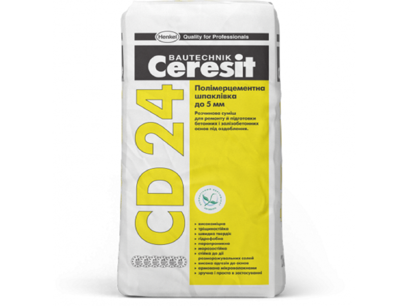 Полимерцементная шпаклевка для восстановления бетона до 5 мм 25кг Ceresit CD 24