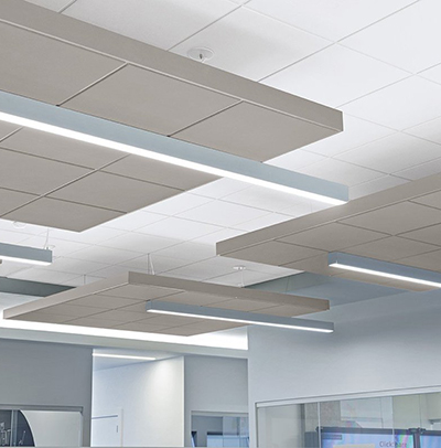 Подвесные потолки AMF: дизайнерские плиты SYMETRA